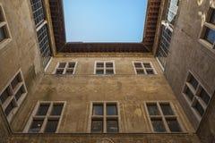 皮恩扎- TUSCANY/ITALY, 2016年10月30日:Palazzo Piccolomini,其中一个新生建筑学的第一个例子在皮恩扎, VA 图库摄影