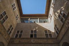 皮恩扎- TUSCANY/ITALY, 2016年10月30日:Palazzo Piccolomini,其中一个新生建筑学的第一个例子在皮恩扎, VA 库存图片