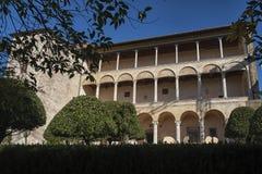 皮恩扎- TUSCANY/ITALY, 2016年10月30日:Palazzo Piccolomini,其中一个新生建筑学的第一个例子在皮恩扎, VA 免版税库存照片