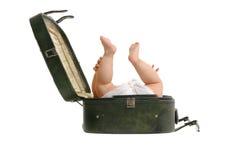 皮箱婴孩 库存图片