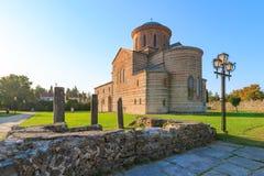 皮聪大,阿布哈兹, 2017年9月19日:以纪念传道者安德鲁的古老家长式大教堂在皮聪大在夏日 免版税库存照片