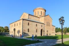 皮聪大,阿布哈兹, 2017年9月19日:以纪念传道者安德鲁的古老家长式大教堂在皮聪大在温暖的夏天da 免版税库存照片