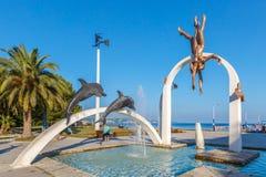 皮聪大,阿布哈兹, 2017年9月23日:著名雕刻的构成`海`,描述采珠人,在中央部o 免版税库存图片