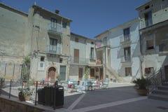 皮肖塔,奇伦托,意大利 小中世纪村庄 图库摄影