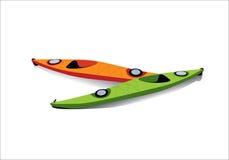 皮船的平的例证在岸的 向量例证