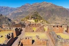 皮萨克印加人废墟在库斯科,秘鲁附近的 免版税库存图片
