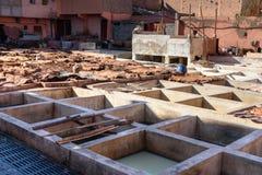 皮革传统皮革厂 马拉喀什 摩洛哥 免版税库存图片