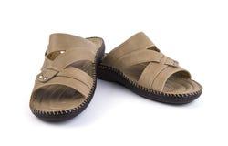 皮革凉鞋。 免版税库存照片
