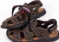 皮革凉鞋太阳镜 免版税库存图片