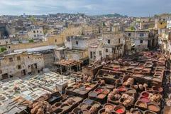 皮革厂在菲斯,摩洛哥 免版税库存图片