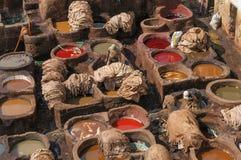 皮革厂在菲斯,摩洛哥 库存照片