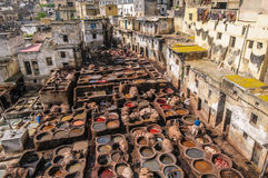 皮革厂在菲斯,摩洛哥 库存图片
