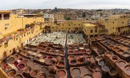 皮革厂在Fes,摩洛哥,非洲 免版税库存照片