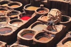 皮革厂在Fes 免版税图库摄影