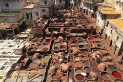 皮革厂在Fes 免版税库存照片