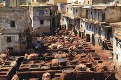 皮革厂在Fes 库存照片