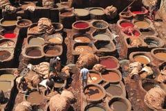 皮革厂在Fes 图库摄影