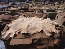 皮革厂坦克和在马拉喀什摩洛哥隐藏 图库摄影