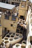 皮革厂 Fes麦地那,摩洛哥 闹事 库存照片