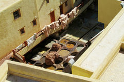 皮革厂quartier在摩洛哥 免版税库存图片