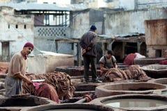 皮革厂souk,摩洛哥 免版税库存图片