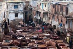 皮革厂souk,摩洛哥 图库摄影