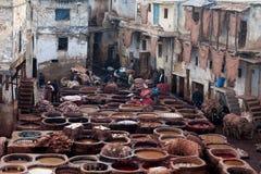 皮革厂souk,摩洛哥 免版税库存照片