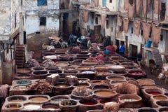 皮革厂souk,摩洛哥 免版税图库摄影