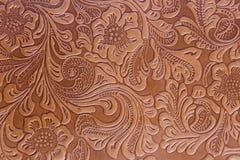 皮革压印的花卉样式 图库摄影