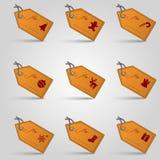 皮革圣诞节礼物标记和标号组eps10 免版税库存照片