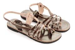 皮革妇女凉鞋 免版税库存图片