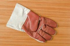 皮革安全手套 免版税库存照片
