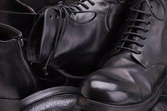 皮革手工制造鞋子特写镜头 免版税库存照片