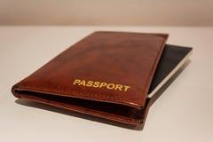 皮革护照盖子 免版税库存图片
