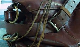 皮革棕色袋子关闭 免版税图库摄影