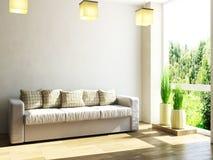 皮革沙发和植物 免版税库存照片
