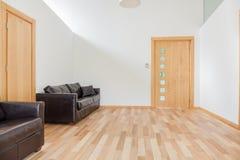 皮革沙发在明亮的屋子里 免版税库存照片