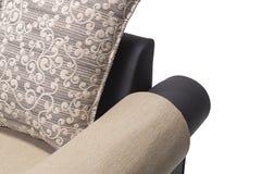 黑皮革沙发设置了与在它的金黄坐垫有白色背景 库存照片