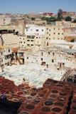 皮革皮革厂在菲斯,摩洛哥 免版税库存照片