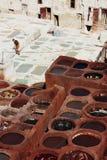 皮革皮革厂在菲斯,摩洛哥 免版税库存图片