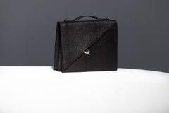 黑皮革盒 免版税库存照片