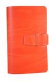 皮革笔记本橙色小 库存照片