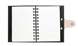 黑皮革笔记本 图库摄影