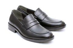 黑皮革精神鞋子 免版税库存照片