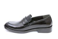 黑皮革精神鞋子 库存照片