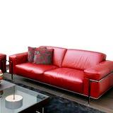 皮革红色沙发 库存照片