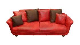 皮革红色长沙发 库存照片