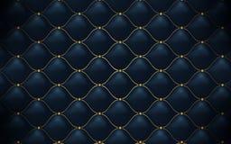 皮革纹理 抽象多角形样式豪华深蓝与金子 库存例证