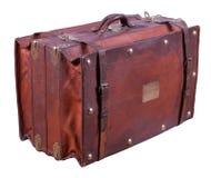 皮革老手提箱 库存图片