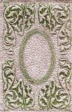 皮革背景(老绿色和棕色盖子) 库存照片